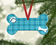 Pet Lt Blue Plaid Ornament