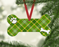 Pet Lt Green Plaid Ornament