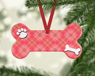 Pet Peach Plaid Ornament