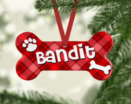 Pet Red Plaid Ornament