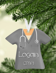 Scrub Top Gray Ornament