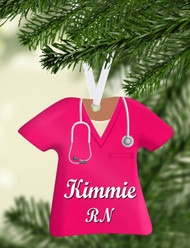 Scrub Top Hot Pink Ornament