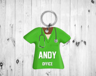 Scrub Top Keychain Green