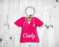 Scrub Top Keychain Hot Pink