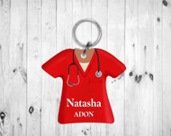 Scrub Top Keychain Red
