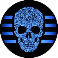 Scrolled Skull Blue BR