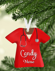 Scrub Top Red Ornament