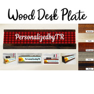 Buffalo Plaid Wood Desk Plate Set