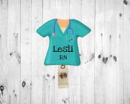 Scrub Top Aqua Badge Reel