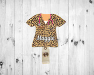 Scrub Top Leopard Badge Reel