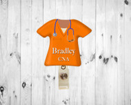 Scrub Top Orange Badge Reel
