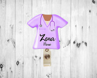 Scrub Top Pastel Purple Badge Reel