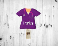 Scrub Top Plum Badge Reel
