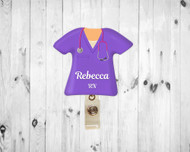 Scrub Top Purple Badge Reel