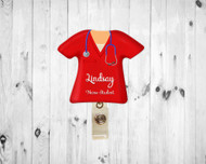 Scrub Top Red Badge Reel