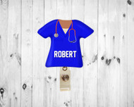 Scrub Top Royal Blue Badge Reel