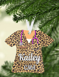 Scrub Top Leopard Ornament