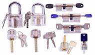SUPER NINE PACK - 9 Assorted Styles Clear View Practice Locks for Lock Picking Practice