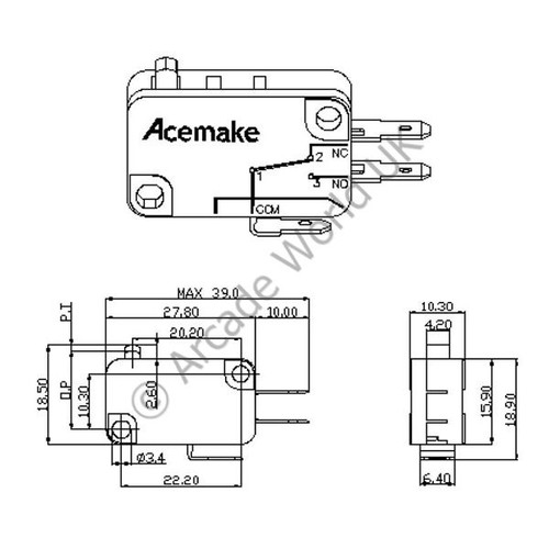 acemake button microswitch with 4 8mm terminals