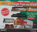 Diesel Freight Train-Only Set -  Standard DC -- Santa Fe (Warbonnet, red, silver) 5 Car Set