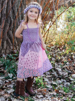 #5643 Abstract Patch Girls' Dress
