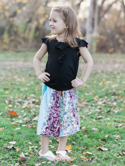 #1025 Knit Patch Girls' Skirt