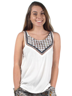 TRT522 Embroidered Bodice Tank