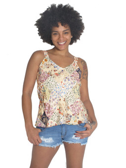 1814 Rayon Patchwork Button Up Tank