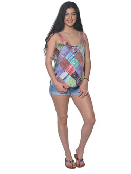 2034 Patchwork Button Up Tank