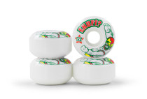 The Peacekeeper wheels are made using premium flat spot resistant urethane. These 55D SHR PU cast wheels come in 3 sizes. Each size comes printed with its own unique graphic.