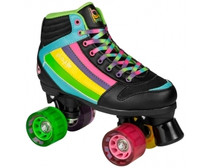 The Groove skates are a pair of 70's styled retro quad skates. They have a mid-cut ankle support and are made of a mix of PU leather and mesh. The plate is a lighweight PU mounted with aluminum trucks. The 80A wheels make these quad skates great for outdoor use.