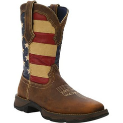 Lady Rebel by Durango Patriotic Women's Pull-On Western Flag Boot 4414 BROWN AND UNION FLAG