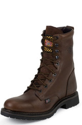 "Justin Mens Boots WK921 8"" BROWN TRAPPER COWHIDE STEEL TOE"