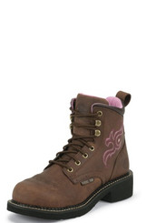 "Justin Ladies Boots WKL991 6"" AGED BARK STEEL TOE"