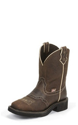 "Justin Ladies Boots L9618 8"" MANDRA BROWN"