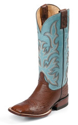 "Justin Ladies Boots L5527 13"" ANTIQUE BROWN SMOOTH OSTRICH"