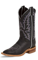 "Justin Ladies Boots BRL316 11"" BLACK BURNISHED CALF"