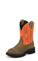 "Justin Ladies Boots L9613 8"" SAFARI BROWN"