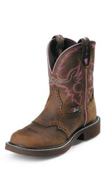 "Justin Ladies Boots WKL9980 8"" WANETTE BROWN STEEL TOE"