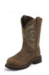 """Justin Ladies Boots WKL9984 11"""" WANETTE BROWN WATERPROOF STEEL TOE"""