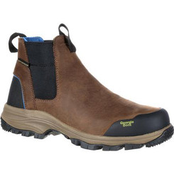 Georgia Boot Blue Collar Chelsea Waterproof Work Romeo Boot 0106 DARK BROWN