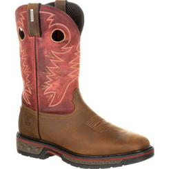 Georgia Boots Mens Carbo-Tec Waterproof Pull-on Boot 0221 BROWN AND RED