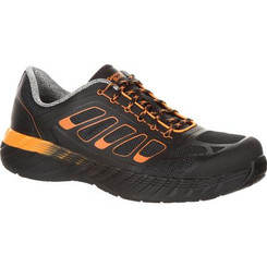 Georgia Mens Boot ReFLX Alloy Toe Work Athletic Shoe 0219 BLACK AND ORANGE