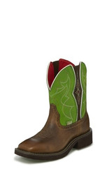 """Justin Ladies Boots L9650 8"""" MANDRA GREEN WITH GORE"""