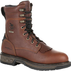 Georgia Boots Mens Carbo-Tec LT Waterproof Lacer Work Boot 0309 BROWN
