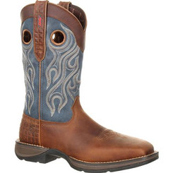 Rebel by Durango Mens Boots Steel Toe Pull-on Western Boot 0134 DARK BROWN AND BLUE DENIM