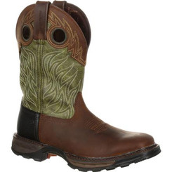 Durango Mens Boots Maverick XP Waterproof Western Work Boot 0177 OILED BROWN AND FOREST GREEN