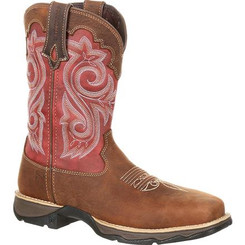 Lady Rebel by Durango Women's Waterproof Composite Toe Western Work Boot 0220 BRIAR BROWN AND RUSTY RED