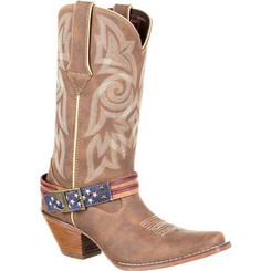 Crush by Durango Women's Flag Accessory Western Boot 0208 BROWN KHAKI