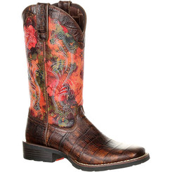 Durango Mustang Women's Faux Exotic Western Pull-on Boot 0226 GATOR EMBOSS AND FLORAL ROSE